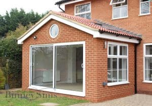 Extension with patio door